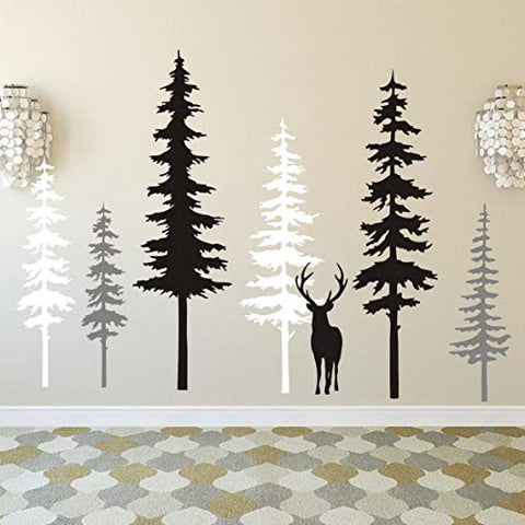 Large Forest Pine Tree with Deer Wall Decals Woodland Trees Wall Sticker for Nursery Room Art Kids Room Bedroom Decoration Forest Tree Animal Wall Mural (White+Gray+Black W/Deer)