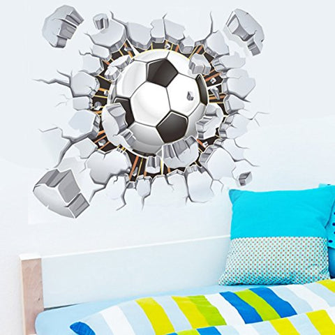 Broken 3D Soccer Ball Football Decorative Peel Vinyl Wall Stickers Wall Decals