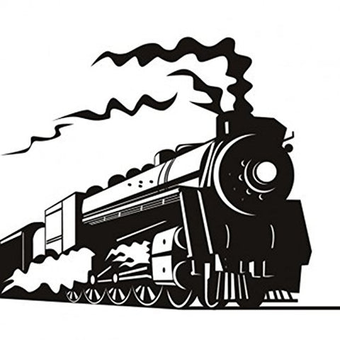 Black Steam Train Wall Decals, Children's Room Nursery Removable Wall Stickers Murals