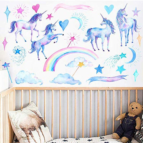 Unicorn Wall Decals,Unicorn Wall Sticker Decor for Boys Girls Kids Bedroom Decor Nursery Room Home Decor, Christmas Gift for Boy and Girl