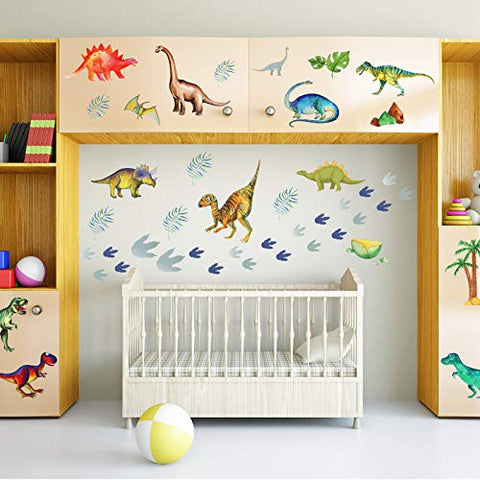 66 Pieces Watercolor Dinosaur Wall Decals Dinosaur Feet Wall Stickers Removable DIY Dinosaur Peel Wild Dinosaur for Kids Baby Bedroom Living Room Bathroom Office Wall Decors