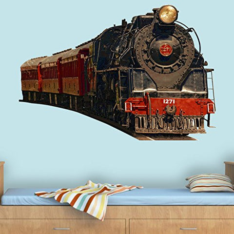 "Vintage Train Wall Decal Realistic Train Wall Decals Peel and Stick Mural PAS2 (10"" H X 14"" W)"