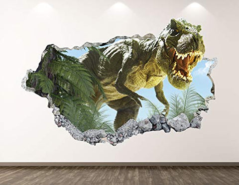 "West Mountain T-Rex Dinosaur Wall Decal Art Decor 3D Jungle Smashed Sticker Poster Kids Room Mural Custom Gift BL175 (22"" W x 14"" H)"