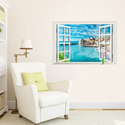Home Find 3D Window Italy Cinque Terre Village in The Blue Sky Wall Stickers Faux Window Glass Frame Decoration Removable Living Room Bedroom Self Adhesive Vinyl Murals 33 inches x 22 inches