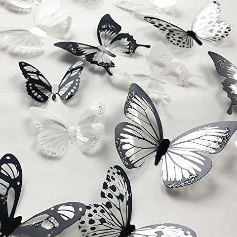 V-Time 3D Yellow Butterfly Wall Stickers Yellow 24 pcs Removable Mural Stickers Wall Stickers Decal for Home and Room Decoration Kids Room Bedroom Decor Living Room Sticker Yellow