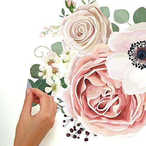 RoomMates Fresh Floral Peel And Stick Giant Wall Decals, White, Pink, Green, 1 Sheet 36.5 Inches x 17.25 Inches - RMK3866GM