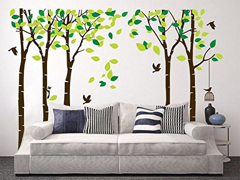 "Amaonm 104""x71"" Giant Large Jungle 5 Trees Wall Decals Green Leaves and Fly Birds Wallpaper Wall Decor DIY Vinyl Wall Stickers for Kids Bedroom Living Room Nursery Rooms Offices Walls (Brown Tree)"
