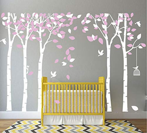 MAFENT Giant Family Tree Wall Decals Forest Birch Tree Wall Stickers Birds Wall Art for Kids Room Nursery Bedroom Living Room Decoration (White,Pink)