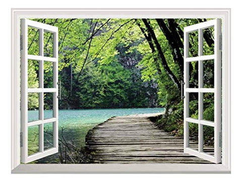 "wall26 Peel and Stick Wallpapaer -Collage - | Removable Large Wall Mural Creative Wall Decal (36""x48"", Bridge by a Lake)"