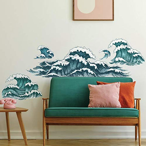 RoomMates Great Wave Peel And Stick Giant Wall Decals
