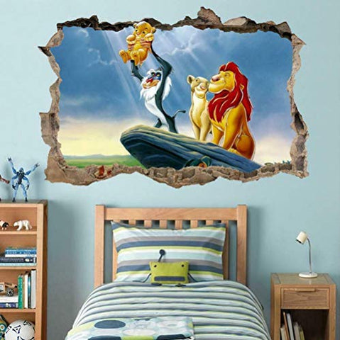 BFLOF Wall Stickers Lion 3D Smash Wall Decal Graphic Wall Sticker Decorative Art