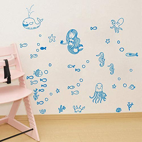 BUCKOO Mermaid Wall Decal Fairytale Ocean World Decal Bathroom Decor for Girls Room Kids Room Wall Decor Gift