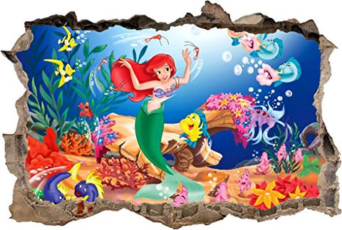 The Little Mermaid Ariel 3D Smashed Wall Sticker Decal Art Mural Disney J476, Regular