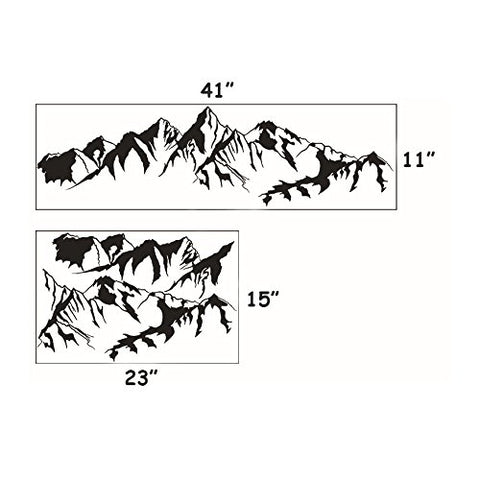 DNVEN 41 inches x 11 inches Mountain Hill Silhouette Decorative Mural Decals Stickers Art Vinyl Wall Sticker Wallpaper for Living Room Bedrooms
