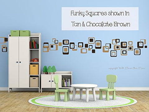 Funky R/Squares Wall Sticker Vinyl Decal 40 Piece 2 Color Retro Mod Shapes Fun Easy Peel-N-Stick Application - Tan and Chocoate