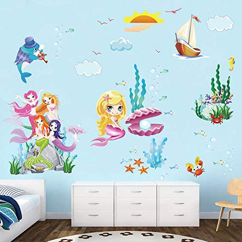 decalmile Mermaid Princess Wall Decals Underwater World Wall Stickers for Girls Room Baby Nursery Childrens Bedroom Kids Room Wall Decor