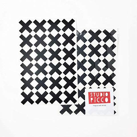 48 Black Plus Sign Swiss Cross Monochrome Geometric Wall Decal, Design Pattern Wall Stickers, Math School Classroom Decor, Modern Nursery Kids Baby Teen Bedroom Easy Decoration