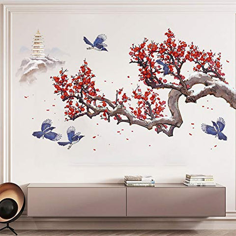 Cherry Blossom Wall Decal Tree and Flower Wall Sticker 3D DIY Wall Art Murals for Offices Classroom Bedroom Study Room Home Wall Decaoration (Plum Blossom)