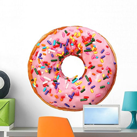 "Wallmonkeys FOT-78029240-24 WM216413 Donut with Sprinkles Isolated Peel and Stick Wall Decals H x 24 in W, 24"" 24"" W-Medium"