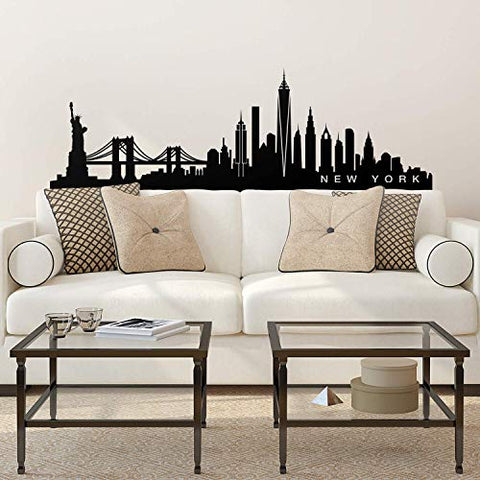 "Vinyl Wall Art Decal - New York Skyline - 20"" x 65"" - Unique Modern American USA East Coast City Home Bedroom Living Room Store Shop Mural Indoor Outdoor Silhouette Adhesive Decor"