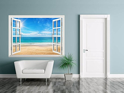 "Wall26 Removable Wall Sticker/Wall Mural - Beautiful Summer Seascape and The Beach | Creative Window View Home Decor/Wall Decor - 24""x32"""