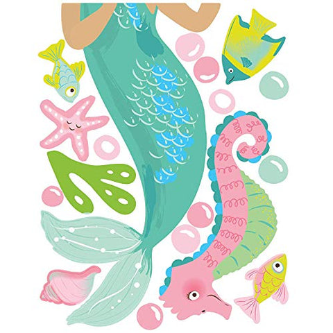 Wallies Vinyl Wall Decals, Mermaid Wall Sticker for Girls Bedroom or Bathroom, 26 Pc