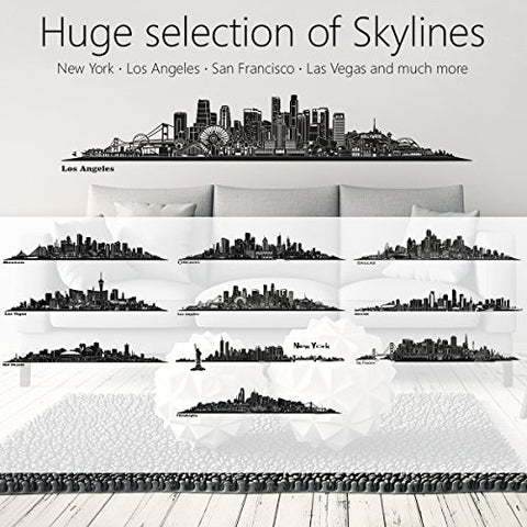 WANDKINGS Skyline Wall Sticker Wall Decal - 48.8 x 9.1 inch in Black - Your City Selectable - Dallas