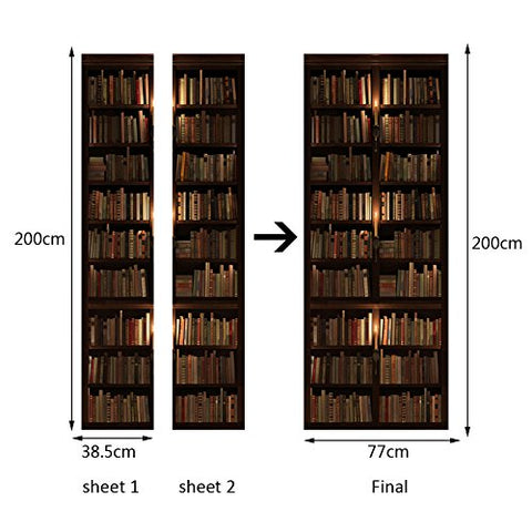 AmazingWall 77x200CM/30.3x78.7 3D Book Shelf Door Sticker Wall Art Mural Home Decoration Removable Wallpaper Self Adhesive Art Decor Decal