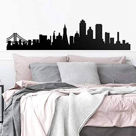"Vinyl Wall Art Decal - San Francisco Skyline - 18.5"" x 75"" - Unique Modern California American USA West Coast City Home Bedroom Living Room Store Shop Mural Indoor Outdoor Silhouette Adhesive Decor"