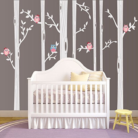 "Nursery Birch Tree Wall Decal Set With Owl Birds Forest Vinyl Sticker, Birch Tree Wall Decal, Birch Tree Decal Baby Boy Whimsical Owls (7 trees) #1321 (84"" (7ft) Tall, White Trees, Pink Owls)"