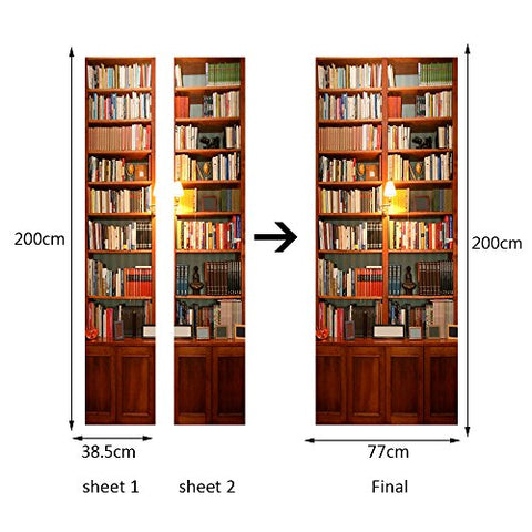 Alwayspon Modern Art Bookcase 3D Door Sticker, Peel and Stick Vinyl Door Mural Decals for Home Decor, 30.3x78.7(77x200cm), 2 Pcs Set