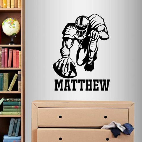 Wall Vinyl Decal Home Decor Art Sticker Football Player Sport Customized Name Boy Teen Bedroom Nursery Living Room Removable Stylish Mural Unique Design 2324