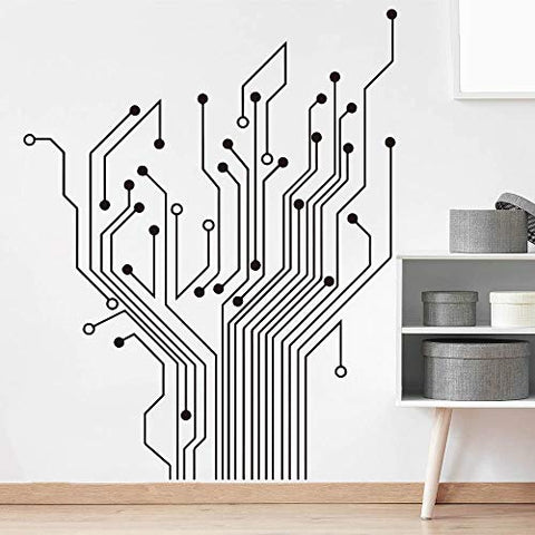 Matius Circuit Tree Ver 2.0 Geek Wall Decal Baby Nursery Kids Room Geekery Computer Science Circuit Board Wall Sticker Bedroom Vinyl