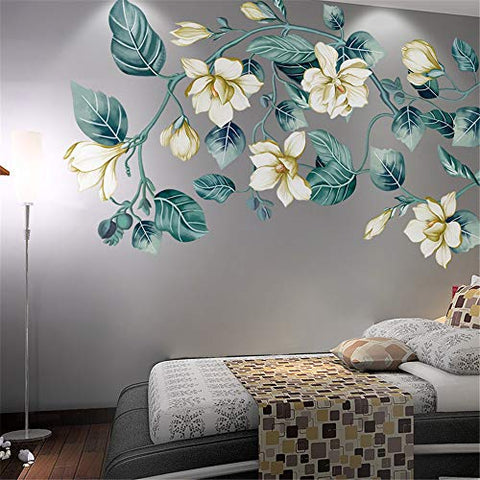 LLYDD Leaf Flower Floral Wall Sticker Decal Art Decor Peel and Stick Self - Adhesive for Living Room Bedroom Kitchen Playroom Nursery Room Delightful Cheerful Realistic Vibrant Greenish Bright Color