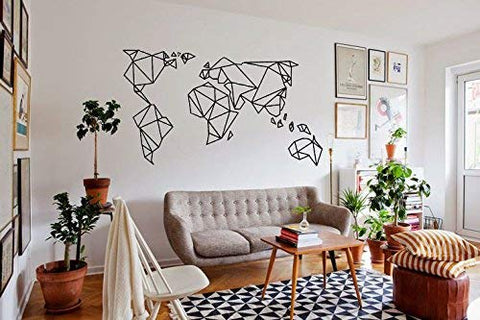 Home Find Black 29 inches x 16 inches Geometric Designs World Map Removable Art Murals Vinyl DIY Wall Decals Decor