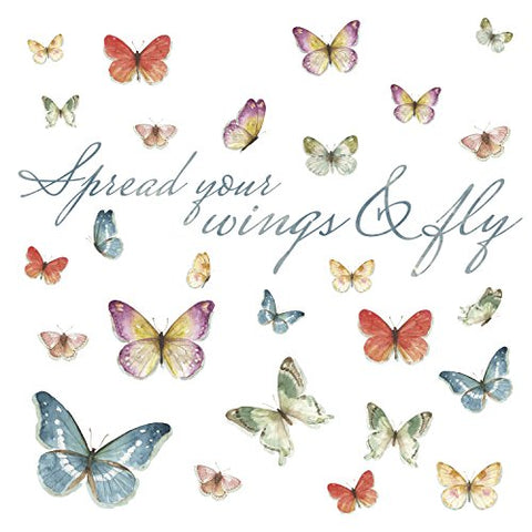 Spread Your Wings & Fly, Lisa Audit Butterfly Quote Peel And Stick Wall Decals, Multicolor