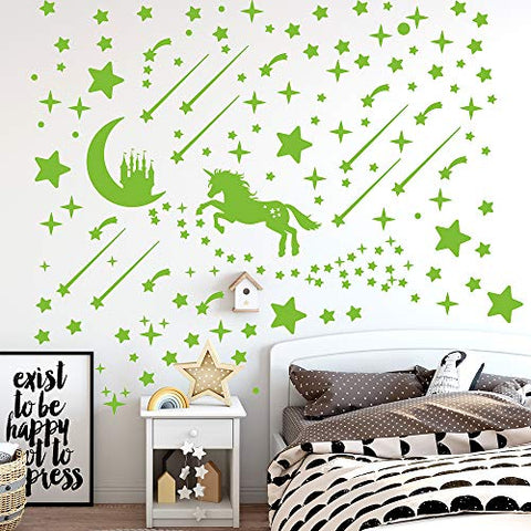 296 PCS Glow in Dark Stars and Unicorn, Glowing Stars for Ceiling, Stars Wall Decals for Kids Nursery Room (Unicorn and Stars)