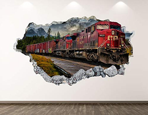 "West Mountain Old Train Wall Decal Art Decor 3D Locomotive Sticker Mural Kids Room Vinyl Custom Gift BL42 (22"" W x 14"" H)"