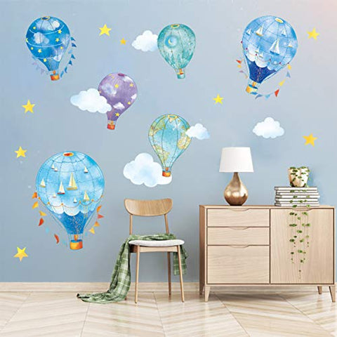 "decalmile 6 Nautical Hot Air Balloons Wall Decals Stars Cloud Star Wall Stickers Baby Nursery Kids Bedroom Wall Decor(Size: 10""/6"" H)"