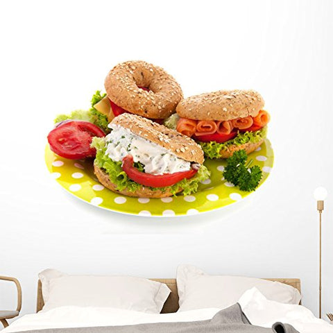Wallmonkeys WM235591 Fresh Bagels with Cheese and Fish Peel and Stick Wall Decals (48 in W x 32 in H), Extra Large