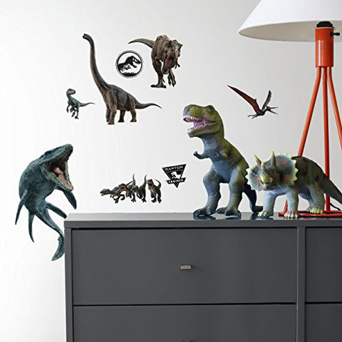 RoomMates Jurassic World: Fallen Kingdom Peel and Stick Wall Decals, Green, Brown, Blue, Orange, Black - RMK3798SCS