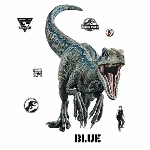 RoomMates Jurassic World: Fallen Kingdom Velociraptor Giant Peel and Stick Wall Decals, Blue, Black - RMK3799GM