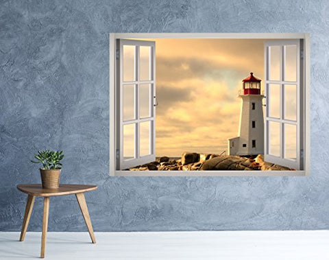 West Mountain Lighthouse View Window 3D Wall Decal Art Removable Wallpaper Mural Sticker Vinyl Home Decor W33 (Small (24''W x 17''H))