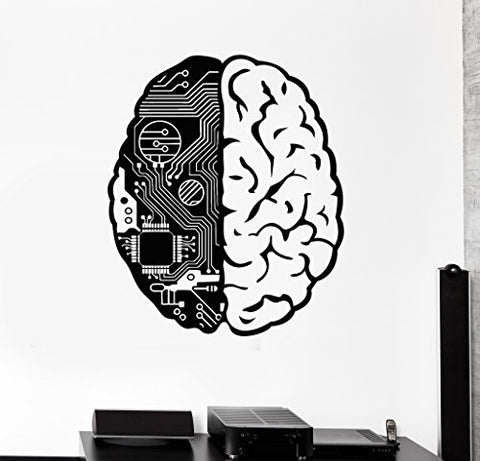 Large Vinyl Wall Decal Brain Chip Engineer Geek Computer Artificial Intelligence Stickers (374ig) Black