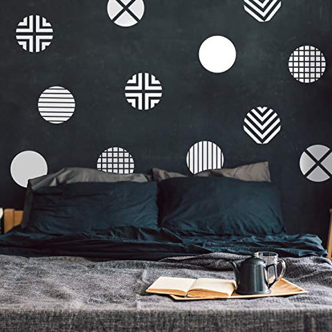 "Set of 12 Vinyl Wall Art Decal - Circle Patterns - 10"" x 10"" Each - Modern Urban Decor for Home Apartment Workplace Decor - Geometric Design for Living Room Bedroom Decals (White)"