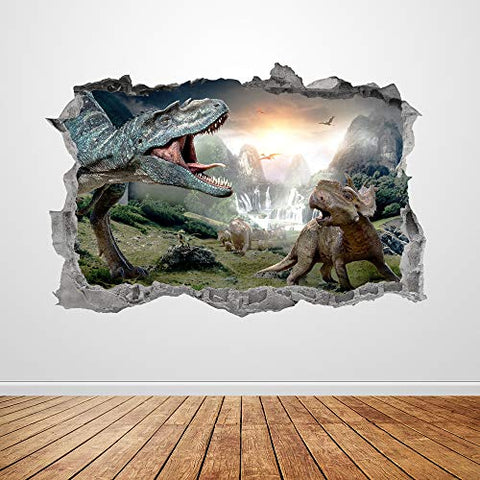 Funny Dinosaur Wall Decals Dinosaur Removable Wall Stickers for Kids Room Decor Wall Decals Dinosaurs Decorative Volcanic Wall Stick