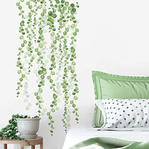 RoomMates RMK3903SCS String Of Pearls Vine Peel And Stick Wall Decals, Green, White, 2 Sheets at 9 Inches x 36.5 Inches