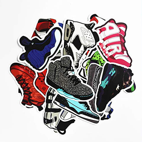 CHengQiSM Sneakers Stickers 100pcs Laptop Cool Not Repeating Sneakers Decals for Laptop,Cars,Motorcycle,Bicycle,Luggage,Graffiti,Skateboard Stickers Hippie Waterproof for Kids Adult Wall Decor