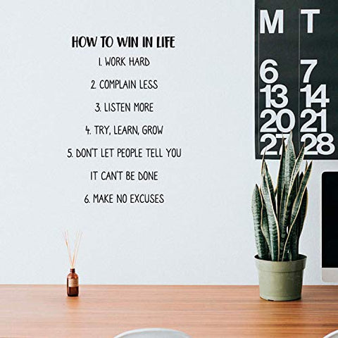 "How to Win in Life - 25"" x 17"" - Modern Motivational Entrepreneurship Quote for Home Bedroom Living Room Office Workplace Classroom School Decoration Sticker"