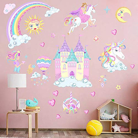 Castle Unicorn Wall Decals Princess Reflective with Heart Rainbow Vinyl Wall Stickers Gifts for Baby Girls Bedroom Party Decoration (2PCS)